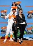 Mariah Carey, Nick Cannon, Moroccan Cannon and Monroe Cannon. At the Nickelodeon`s 2018 Kids` Choice Awards held at the Forum in Inglewood, USA on March 24 Stock Photo