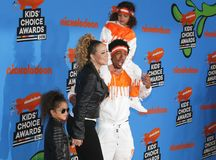 Mariah Carey, Nick Cannon, Moroccan Cannon and Monroe Cannon. At the Nickelodeon`s 2018 Kids` Choice Awards held at the Forum in Inglewood, USA on March 24 Stock Photos