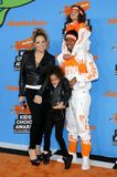 Mariah Carey, Nick Cannon, Moroccan Cannon and Monroe Cannon. At the Nickelodeon`s 2018 Kids` Choice Awards held at the Forum in Inglewood, USA on March 24 Royalty Free Stock Photo