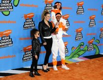 Mariah Carey, Nick Cannon, Moroccan Cannon and Monroe Cannon. At the Nickelodeon`s 2018 Kids` Choice Awards held at the Forum in Inglewood, USA on March 24 Royalty Free Stock Images