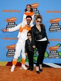 Mariah Carey, Nick Cannon, Moroccan Cannon and Monroe Cannon. At the Nickelodeon`s 2018 Kids` Choice Awards held at the Forum in Inglewood, USA on March 24 Stock Photography