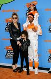Mariah Carey, Nick Cannon, Moroccan Cannon and Monroe Cannon. At the Nickelodeon`s 2018 Kids` Choice Awards held at the Forum in Inglewood, USA on March 24 Royalty Free Stock Photos