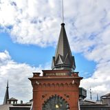 Mariahissen at Södermalm in Stockholm. Mariahissen at the foot of Mariaberget erected in 1885 and designed by architect Gustaf Dahl. He gave the building a Stock Photos