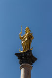 Marian column of Munich at Marienplatz, Germany, 2015. Marienplatz also called Mary's Square is one of the most vital places in Munich with the Mariensäule ( Stock Photography
