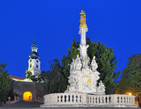 Marian Column and St. Emmeram's Cathedral at evening, Nitra Stock Image