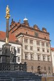 Marian Column and Town Hall of Plzen Stock Photo