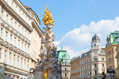 Marian columns known as plague columns. Constructed in the center of Vienna on Graben Street in 1693 Royalty Free Stock Photos