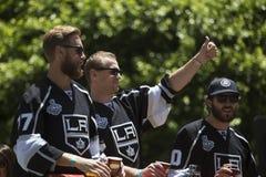 Marian Gaborik, Mike Richards e Jeff Carter em reis 2014 Stanley Cup Victory Parade do LA, Los Angeles, Califórnia, EUA Imagens de Stock Royalty Free