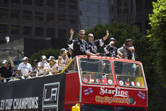 Marian Gaborik, Mike Richards and Jeff Carter at LA Kings 2014 Stanley Cup Victory Parade, Los Angeles, California, USA Royalty Free Stock Photos