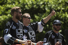 Marian Gaborik, Mike Richards and Jeff Carter at LA Kings 2014 Stanley Cup Victory Parade, Los Angeles, California, USA Royalty Free Stock Images