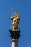 Marian kolom van München in Marienplatz, Duitsland, 2015 Stock Afbeeldingen