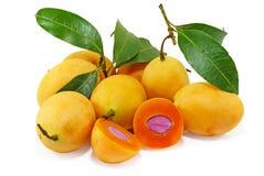 Marian pruimfruit op wit wordt ge?soleerd dat royalty-vrije stock fotografie