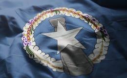 Mariana Islands Flag Rumpled Close do norte acima fotografia de stock