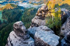 Marianina lookout from Vilemina view point, Jetrichovice region, Czech Switzerland, Czech republic. Sunrise royalty free stock images