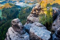 Marianina utkik från Vilemina siktspunkt, Jetrichovice region, tjeckiska Schweiz, Tjeckien royaltyfria bilder