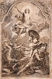MARIANKA - DECEMBER 4: Resurrection. Lithography print in Missale romanum published by Augustae Vindelicorum in year 1727 Stock Images