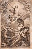 MARIANKA - 4 DECEMBER: Verrijzenis Lithografiedruk in Missale-romanum die door Augustae Vindelicorum in jaar 1727 wordt gepublice Stock Afbeeldingen