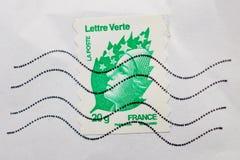 Marianne, εθνικό σύμβολο της Γαλλίας σε Lettre verte από τη θέση Λα Στοκ Εικόνα