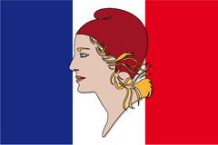 Marianne symbol and france flag Royalty Free Stock Images