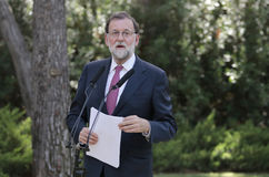 Mariano Rajoy gesturing at media comference in marivent palace gardens Royalty Free Stock Images