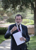 Mariano Rajoy gesturing at media comference Stock Images