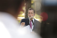 Mariano Rajoy gesturing at media comference Stock Photo