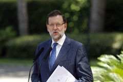 Mariano Rajoy gesturing on speech in mallorca Royalty Free Stock Photography
