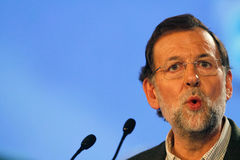 Mariano Rajoy gesturing during speech Stock Photo