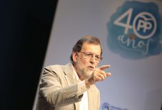 Mariano Rajoy gesturing during speech Royalty Free Stock Photography