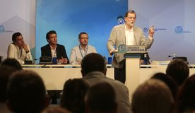 Mariano Rajoy speaking to militants Royalty Free Stock Photo