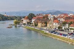 Maribor city and Drava river in Slovenia. royalty free stock photo
