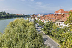 Maribor city and Drava river in Slovenia. royalty free stock image