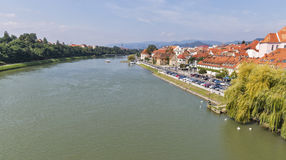Maribor city and Drava river in Slovenia. stock images
