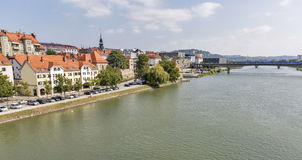 Maribor city and Drava river in Slovenia. royalty free stock photos