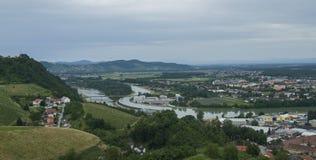 Maribor con il Drava Immagini Stock Libere da Diritti