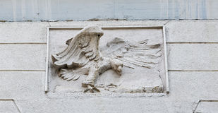 Maribor house facade with eagle bas relief closeup, Slovenia royalty free stock photo