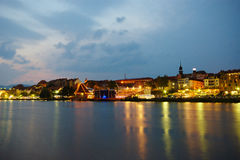 Maribor, Lent and Drava River. In Slovenia during Festival Lent with old Water Tower and Main Stage full of People Royalty Free Stock Images
