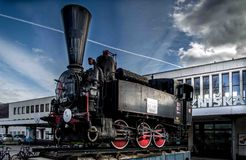 Maribor. Locomotive in front of station Royalty Free Stock Photography