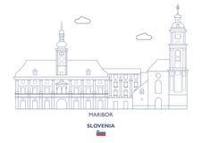 Maribor miasta linia horyzontu, Slovenia Obrazy Stock