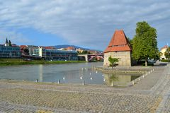 Maribor, Slovenia. View on river in Maribor, Slovenia Royalty Free Stock Photos
