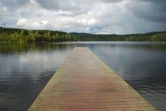 Maridalsvannet. Lake pier, Oslo, Norway Royalty Free Stock Photos