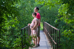 Marido com sua esposa grávida na ponte Imagens de Stock