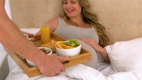 Marido con la bandeja del desayuno para la esposa embarazada feliz almacen de video