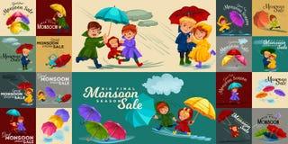 Marido de la familia y lluvia que camina de la esposa con el paraguas en manos, las gotas de agua que gotean en charcos, el papá  Imagenes de archivo