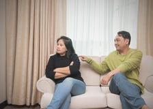 Marido que tenta reconciliar sua esposa imagens de stock royalty free