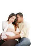 Marido y 8 meses de esposa embarazada. Fotos de archivo