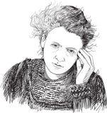 Marie Curie portrait in line art illustration. Marie Curie. line art style portrait. Vector vector illustration