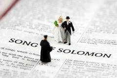Mariée et marié sur la bible Image stock