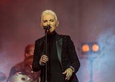 Marie Fredriksson (Roxette) chante - habitent dans Khabarovsk, Russie Photos stock