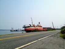 Marie Joseph, Nova Scotia - July 26th, 2014: An abandoned ship l royalty free stock images